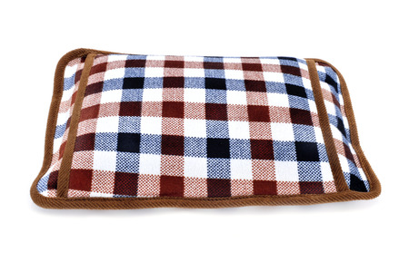 warm water: a hot water bottle with a pocket to introduce hands on a white background