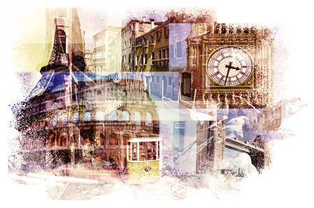 multiple exposures of different european landmarks such as the Big Ben in London, the Eiffel Tower in Paris, the Coliseum in Rome, a canal in Venice or a tramcar in Lisbon Stockfoto