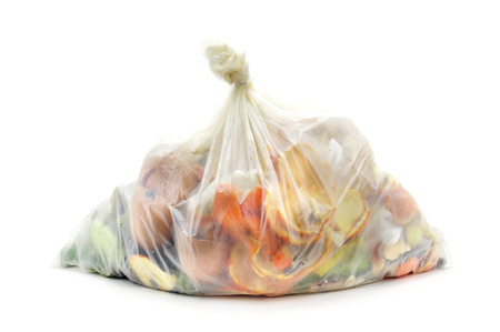 biodegradable bag full of biodegradable waste on a white background Stockfoto