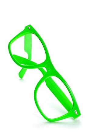 eyestrain: bright green plastic rimmed eyeglasses on a white background Stock Photo