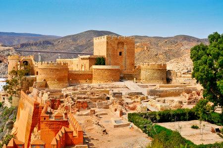 citadel: a view of the walls of the Alcazaba of Almeria, in Almeria, Spain
