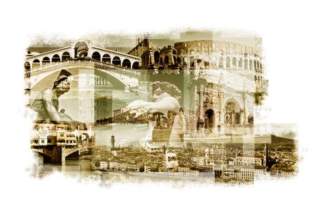 rialto bridge: multiple exposures of different italian landmarks such as the Rialto Bridge in Venice, the Coliseum in Rome or the Ponte Vecchio in Florence Editorial