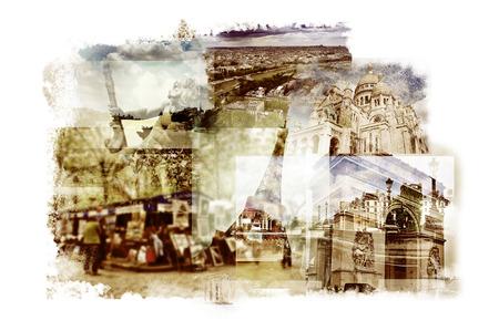 sacre coeur: plusieurs expositions de différents points de repère à Paris, France tels que la Tour Eiffel, la basilique du Sacré-C?ur, certains ponts au-dessus de la Seine ou de l'Arc de Triomphe