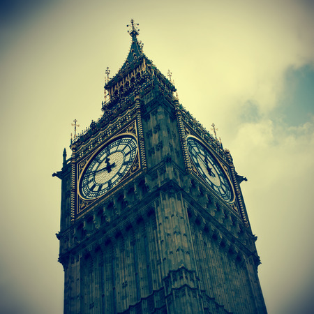 england big ben: closeup of the Big Ben in London, United Kingdom, with a retro effect