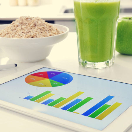 ruination: a tablet computer showing some charts and a bowl with cereals, a glass with a green smoothie and an apple on the kitchen table