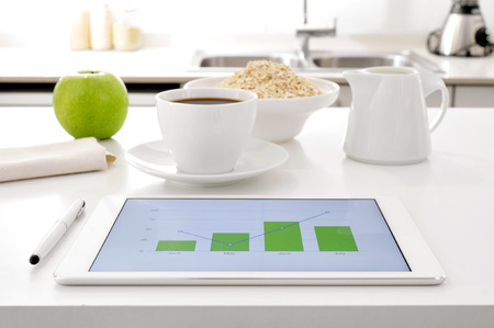 ruination: a tablet computer showing some charts and an apple, a cup of coffee and a bowl with cereals on the kitchen table