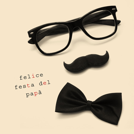 felice: sentence felice festa del papa, happy fathers day written in italian, and black eyeglasses, mustache and bow tie forming a man face in a beige background