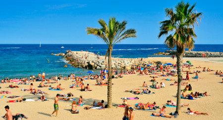bathers: Barcellona, ??Spagna - 19 ago 2014: Bagnanti a La Barceloneta Beach a Barcellona, ??Spagna. Questa famosa spiaggia ospita circa 500.000 visitatori provenienti da tutto il mondo durante la stagione estiva