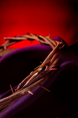 closeup of the the crown of thorns of Jesus Christ on a purple fabric