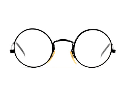 round shape: a pair of round-lens eyeglasses on a white background