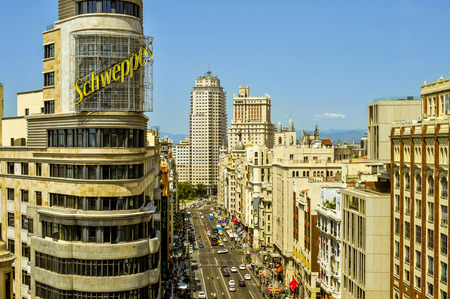 Madrid, Spain - August 11, 2014: Aerial view of the Gran Via street in Madrid, Spain, the Spanish Broadway, with the iconic neon advertisement for Schweppes in the foreground Editorial