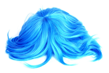 complement: a long-haired blue wig on a white background