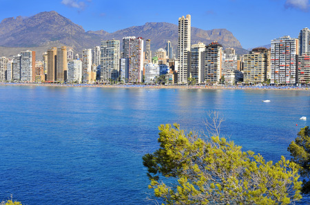 vacationers: panoramic view of Benidorm and its iconic skyscrapers in Playa Levante area, in Valencian Community in Spain