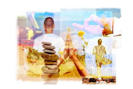 singing bowl: esposizioni multiple di un giovane uomo yogi in diverse posizioni yoga all'aperto e una pila di pietre in equilibrio o di una ciotola di canto tibetano