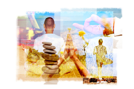 prana: multiple exposures of a young yogi man in different yoga positions outdoors and a stack of balanced stones or a tibetan singing bowl