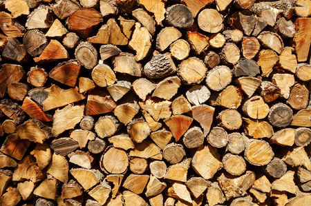 a pile of chopped firewood logs stored in a ranch or a farm photo