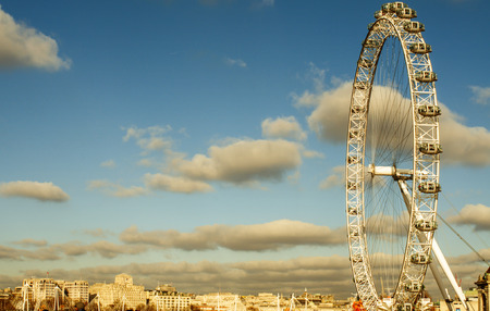 millennium wheel: London, United Kingdom - January 19, 2015: The London Eye in London, United Kingdom. It is the tallest Ferris wheel in Europe with 135 meters high Editorial