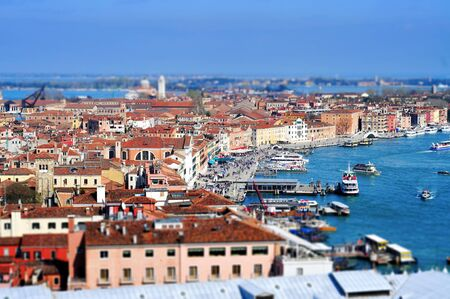 moorings: Tilt-shift photography of the Castelo Sestieri in Venice, Italy, and the lagoon, with the vaporetto stops Editorial