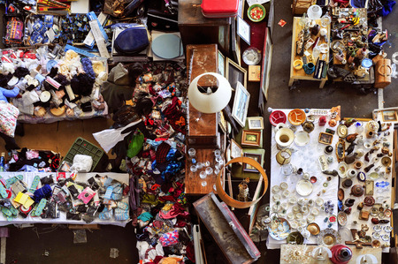 swap: high-angle shot of a stall in a flea market full of bits and pieces Stock Photo