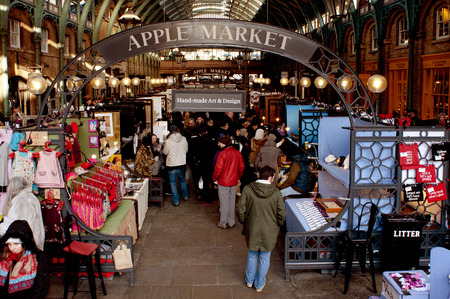 covent garden market: London, UK - January 18, 2014: A view of the Apple Market in Covent Garden in London, United Kingdom. Formerly a market, nowadays it is a popular shopping center and tourist site