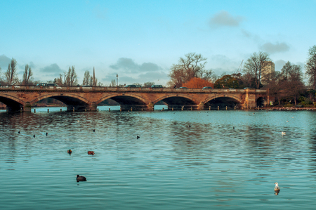 some ducks swim in the Serpentine River, with the Serpentine Bridge in the background, in Hyde Park in London, United Kingdom photo