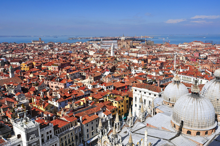 patriarchal: aerial view of the Patriarchal Cathedral Basilica of Saint Mark and the roofs of Venice, Italy