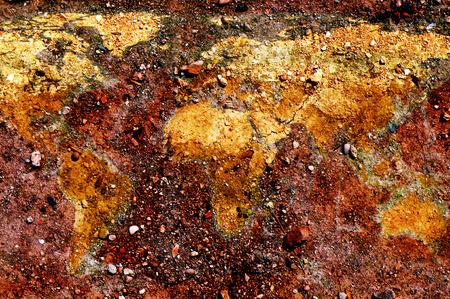 tierra fertil: el mapa del mundo representado en el suelo Foto de archivo