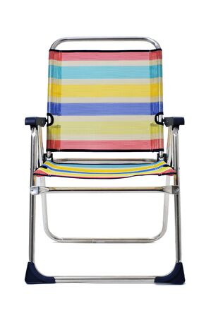 folding chair: a foldable beach chair with stripes of different colors, on a white background