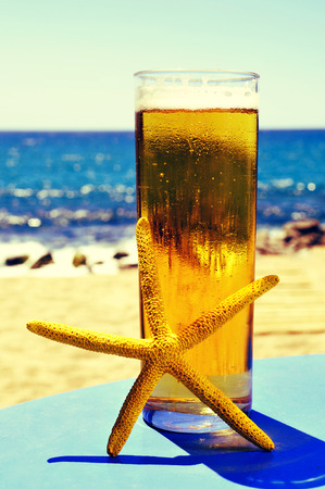 thirstiness: closeup of a yellow starfish and a glass with refreshing beer on a blue table, on the beach