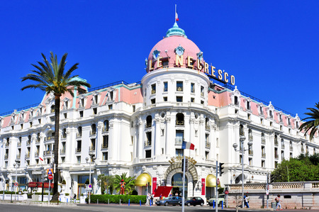 Nice France  May 16 2015: The famous Le Negresco Hotel in Nice France. This historic luxury hotel located in the Promenade des Anglais is a landmark in the city