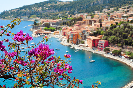 aerial view of Villefranche-sur-Mer in the French Riviera, France, and the Mediterranean sea Stock Photo