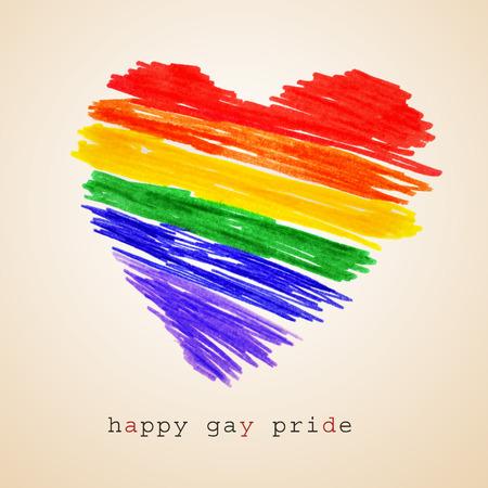lesbienne: un coeur d'arc et le texte heureuse journ�e de la fiert� gay �crit sur un fond beige, avec un effet r�tro