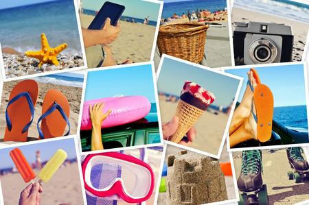 소셜 네트워킹 서비스에 업로드 스냅 샷의 벽을 시뮬레이션 자신에 의해 촬영 여름 사진, 모자이크 스톡 콘텐츠