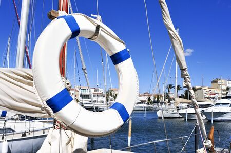 pleasure ship: yachts moored in the marina of Empuriabrava, Spain, the largest residential marina in Europe