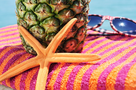 seastar: closeup of a starfish, a pineapple and a pair of sunglasses on a colorful beach towel