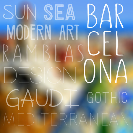 topics: a blurred image of Barcelona, Spain, and topics related to the city, such as sun, sea, modern art, Ramblas, Gaudi, design, Gothic and Mediterranean