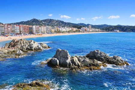 mar: panoramic view of the Platja de Lloret beach in Lloret de Mar, in the Costa Brava, Spain
