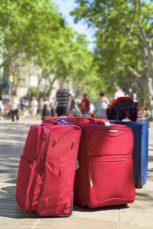 ramblas: some baggages at the famous Las Ramblas in Barcelona, Spain
