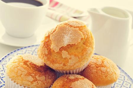 llanura: portarretrato de una placa con algunas magdalenas, los panecillos de fricción españoles típicos, en una mesa de juego con una taza de café y un pote de leche en el fondo Foto de archivo