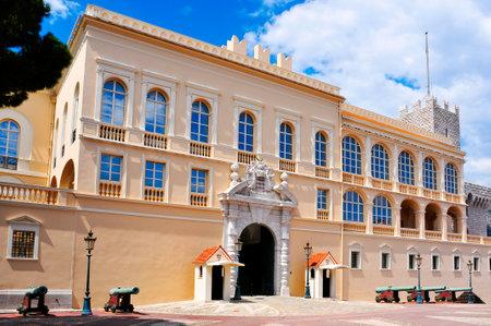 monegasque: view of the facade of the Princes Palace of Monaco in Monaco-Ville, Monaco Editorial