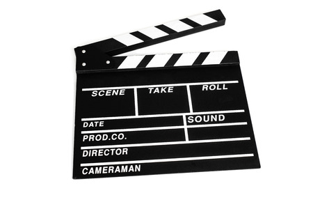synchronizing: a traditional wooden clapperboard on a white background