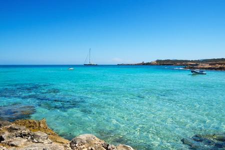 seawater: detail of the clear seawater at Cala Conta beach in San Antonio, Ibiza Island, Spain