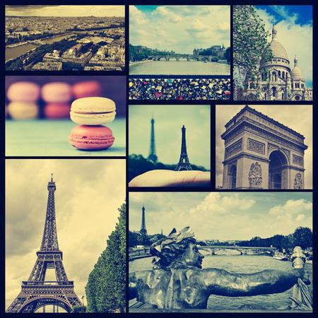 パリ、フランスの別の陸標のいくつかの写真のコラージュなど、エッフェル塔、セーヌ川や凱旋門、上のいくつかの橋は、聖心聖堂クロス処理