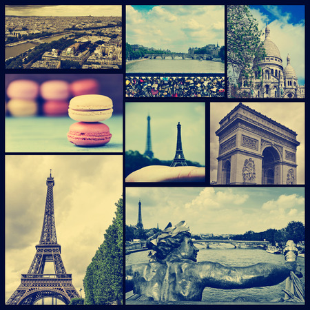sacred heart: a collage of some pictures of different landmarks in Paris, France such as the Eiffel Tower, the Basilica of the Sacred Heart, some bridges above the Seine River or the Arc de Triomphe, cross processed
