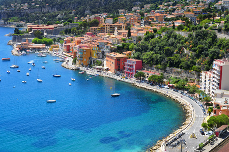 french riviera: aerial view of Villefranche-sur-Mer in the French Riviera, France, and the Mediterranean sea Stock Photo