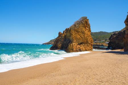 nudist: a view of the Cala Illa Roja beach in Begur, in the Costa Brava, Catalonia, Spain