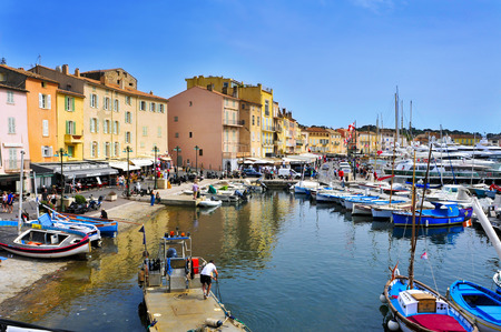 saints: Saint-Tropez, France - May 13, 2015: A view of the Old Port in Saint-Tropez, France. Saint-Tropez is a famous destination for European and Worldwide tourists in the French-Riviera Editorial