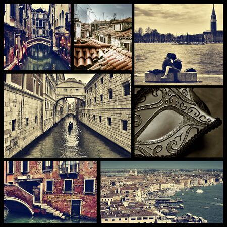 campanille: a collage of some pictures of different locations in Venice, Italy, such as small canals, the Bridge of Sighs or the Grand Canal, cross processed Stock Photo