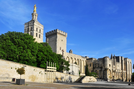 avignon: a view of the Palais des Papes, the Palace of the Popes, in Avignon, France