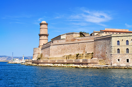 seventeenth: a view of the Fort Saint-Jean, built in the seventeenth century, in Marseille, France, surrounded by the Mediterranean sea